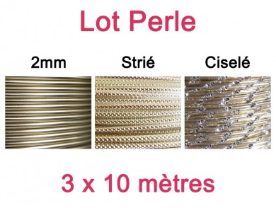 Lot fil alu perle 2mm - 3 x 10m