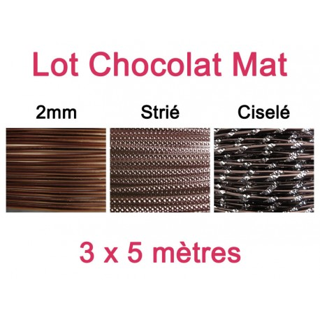 Lot fil alu chocolat mat 2mm - 3 x 5m