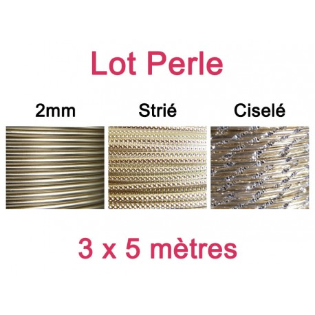 Lot fil alu perle 2mm - 3 x 5m