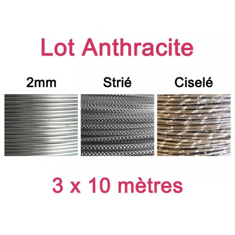 Lot fil alu anthracite 2mm - 3 x 10m